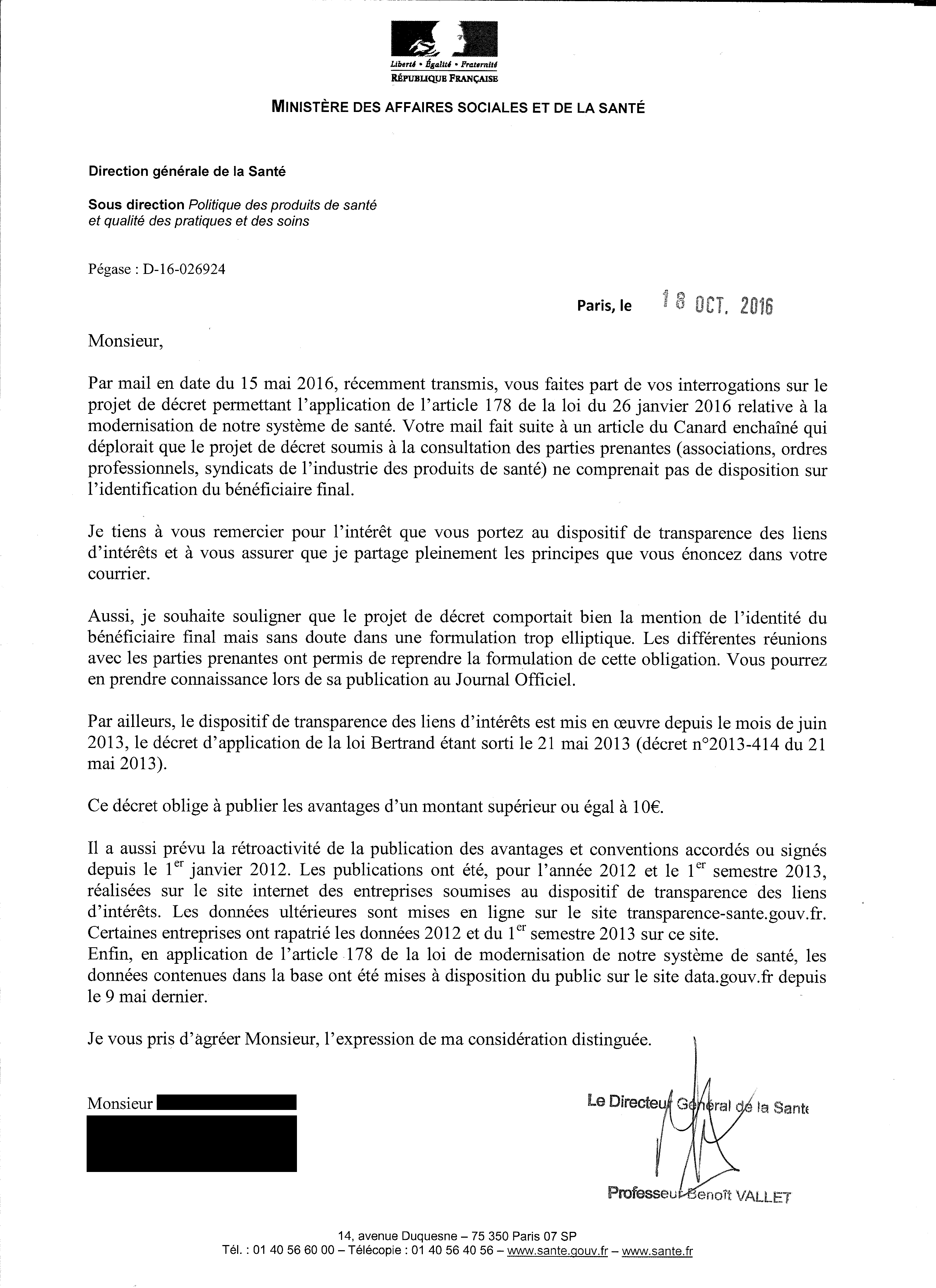 Reponse Au Courrier Du Ministere De La Sante Suite A Mon Mail